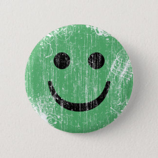 GREEN SMILEY - ERODED AND AGED 2 INCH ROUND BUTTON