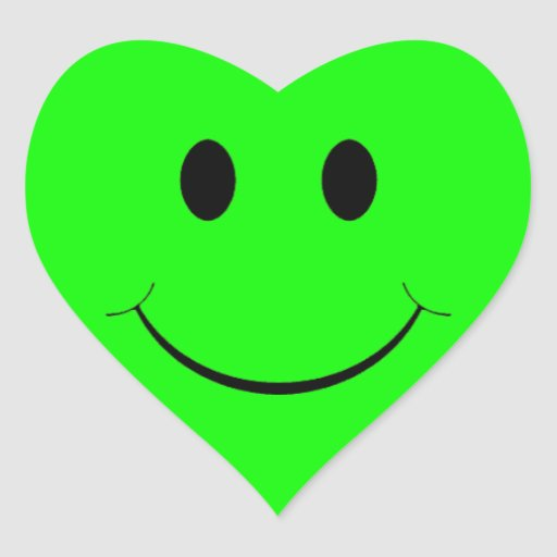 green smiley face heart stickers zazzle