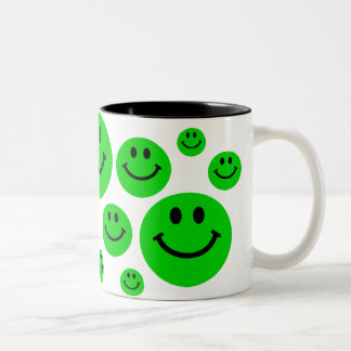 Green Smiley Faces Mug