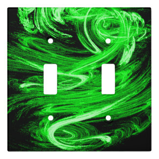 Green Smoke Fractal Light Switch Cover