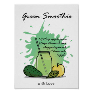 Green smoothie recipe design poster