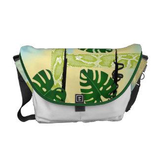 Green Snakeskin Tropical Leaves Messenger Bag