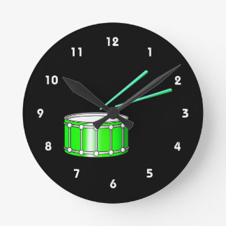 green snare graphic with sticks round clock