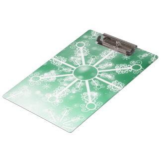 Green Snowflake Clipboard