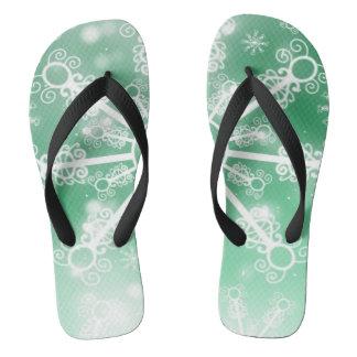 Green Snowflake Flip Flops