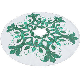 Green Snowflake Flower Pattern On White Fleece Tree Skirt