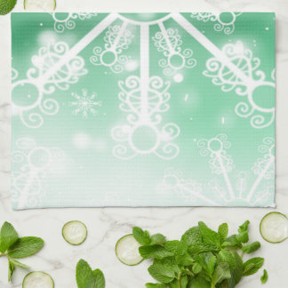 Green Snowflake Hand Towel