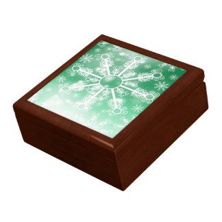 Green Snowflake Jewelry Boxes
