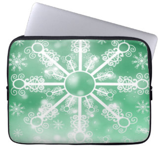 Green Snowflake Laptop Sleeve