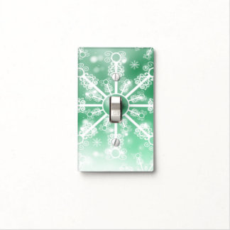Green Snowflake Light Switch Cover