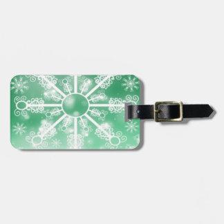 Green Snowflake Luggage Tag