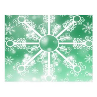 Green Snowflake Postcard