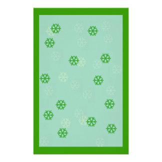 Green Snowflake Winter Stationary Customized Stationery