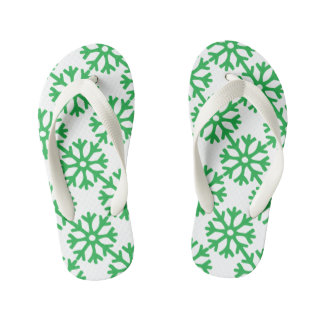Green Snowflakes Kid's Flip Flops