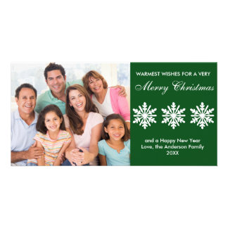 Green Snowflakes - Photo Card
