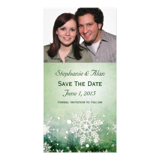 Green Snowflakes Save The Date PhotoCards Picture Card