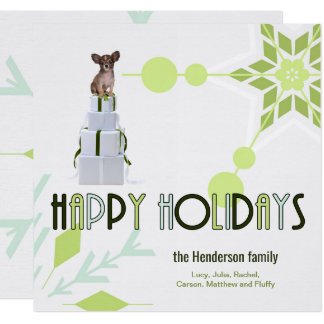 Green Snowflakes with Papillon Dog on Wrapped Box Card