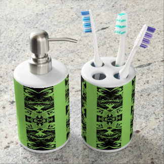 green soap dispenser and toothbrush holder