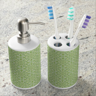 Green Soap Dispenser & ToothBrush Holder