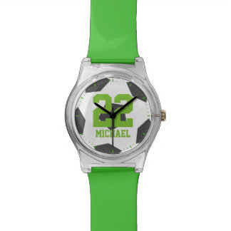 Green Soccer Ball Kids Watch