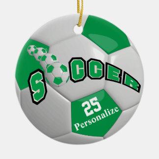 Green Soccer Ball | Personalize Round Ceramic Ornament