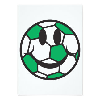 "green soccer ball smiley face 5"" x 7"" invitation card"