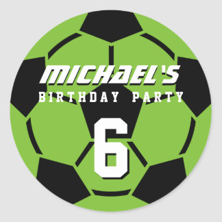 Green Soccer Ball Sports Birthday Party Stickers