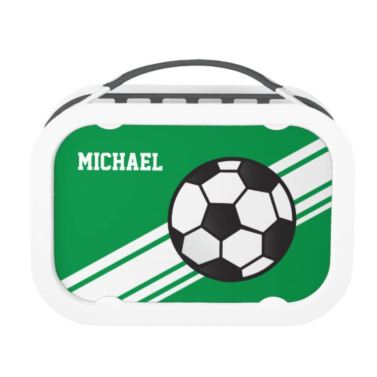 Green Soccer Ball Stripes Personalized Lunch Box