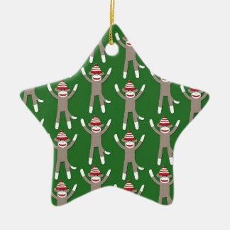 Green Sock Monkey Print Ceramic Star Ornament