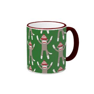 Green Sock Monkey Print Ringer Coffee Mug