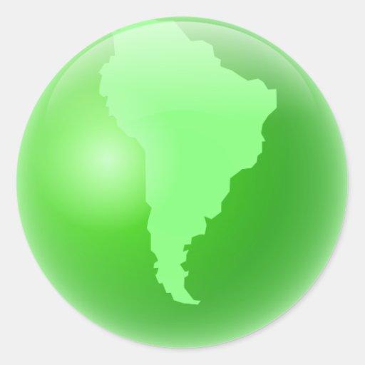 Green South America Globe Round Sticker