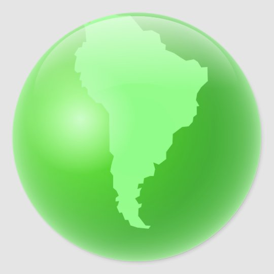 Green South America Globe Round Sticker