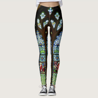 Green South Stained Glass Window Leggings