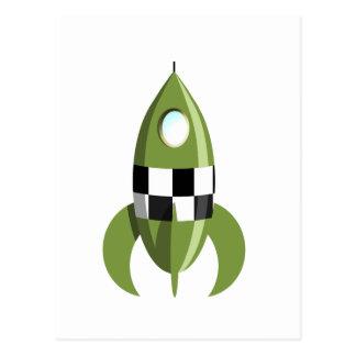 Green Space Rocket Postcard