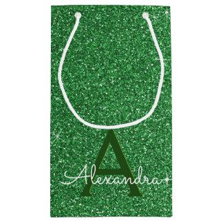 Green Sparkle Glitter Monogram Name & Initial Small Gift Bag