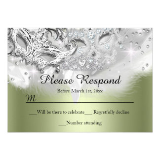 Green Sparkle Masquerade RSVP Reply Personalized Announcement