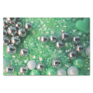 Green Sparkles and Love Hearts Tissue Paper