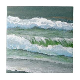 Green Sparkly Waves Ocean Sea Beach Decor Gifts Tile