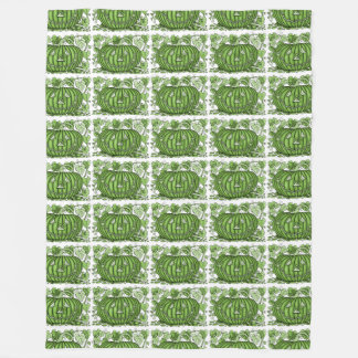 Green Spidery Pumpkin Fleece Blanket