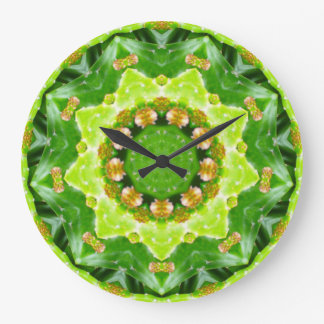 Green Spikey Succulant Fractal Large Clock