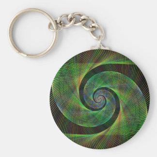 Green spiral basic round button keychain