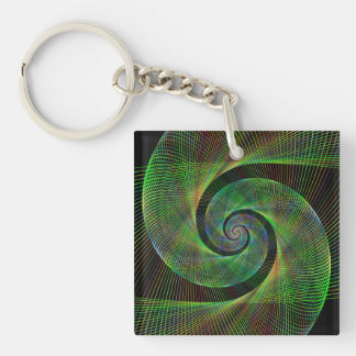 Green spiral Double-Sided square acrylic keychain