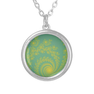 Green Spiral Fractal Personalized Necklace