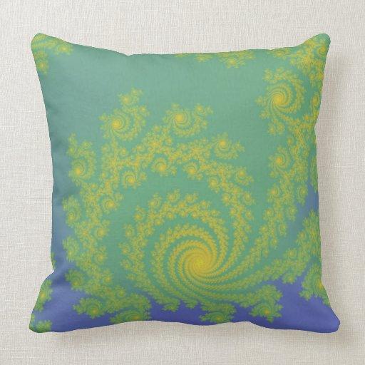 Green Spiral Fractal Throw Pillows