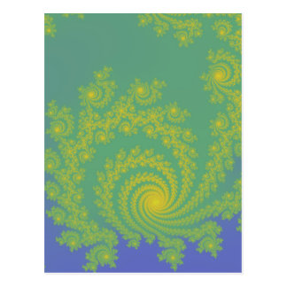 Green Spiral Fractal Post Card