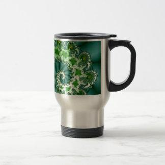 Green Spiral Fractal Travel Mug