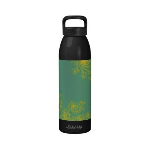 Green Spiral Fractal Drinking Bottle