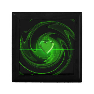 Green spiral heart keepsake box
