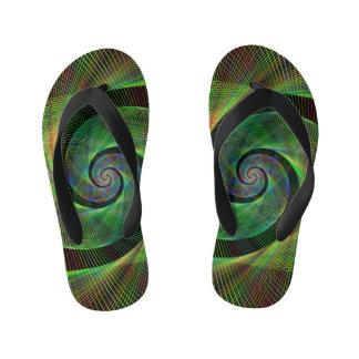 Green spiral kid's flip flops