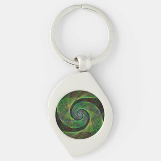 Green spiral Silver-Colored swirl keychain